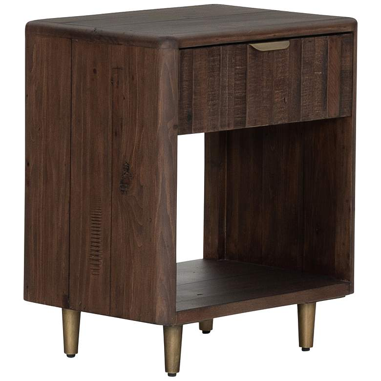 """Lineo 19 3/4"""" Wide Rustic Wood and Iron 1-Drawer Nightstand"""