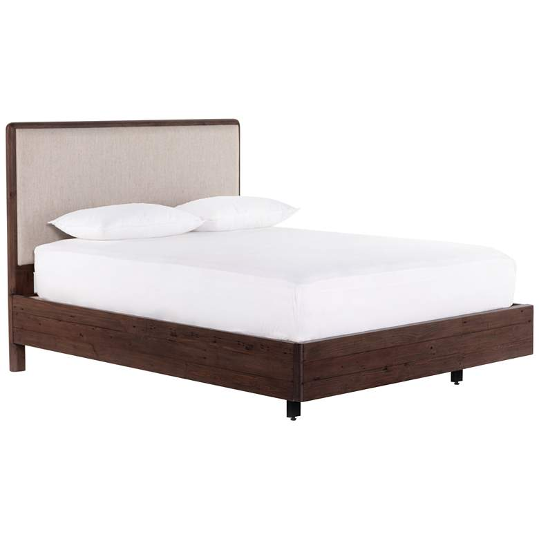 Lineo Rustic Wood Upholstered King Bed