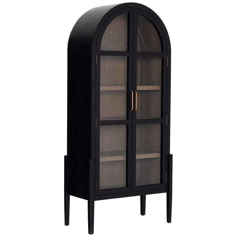 """Tolle 38"""" Wide Black Drifted Oak Cabinet"""