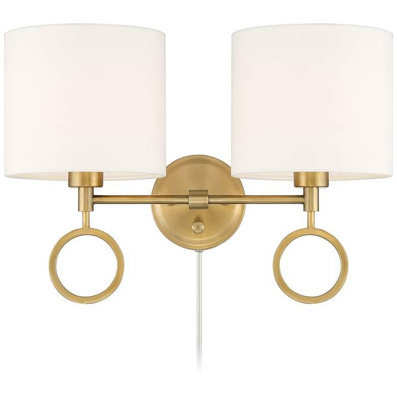 Amidon Antique Brass Drop Ring Plug-In 2-Light Wall Lamp