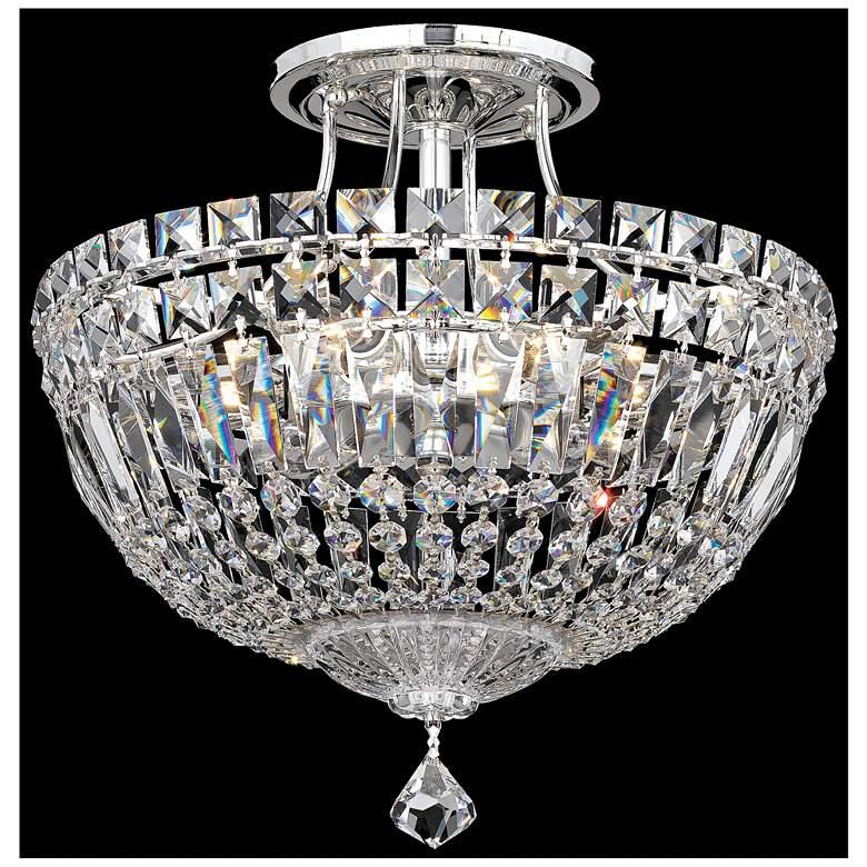 "Schonbek Petit Crystal Deluxe 12"" Wide Silver Ceiling light"