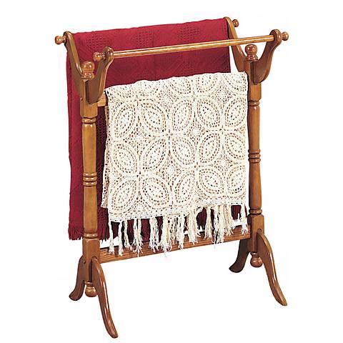 Warm Oak Blanket Rack
