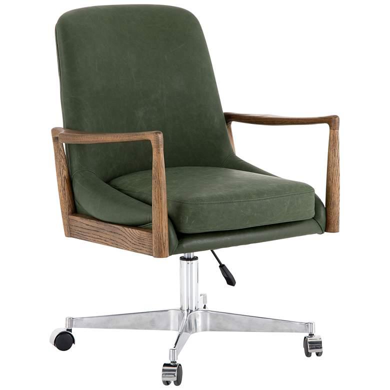 Braden Mid-Century Eden Sage Leather Adjustable Swivel Desk Chair