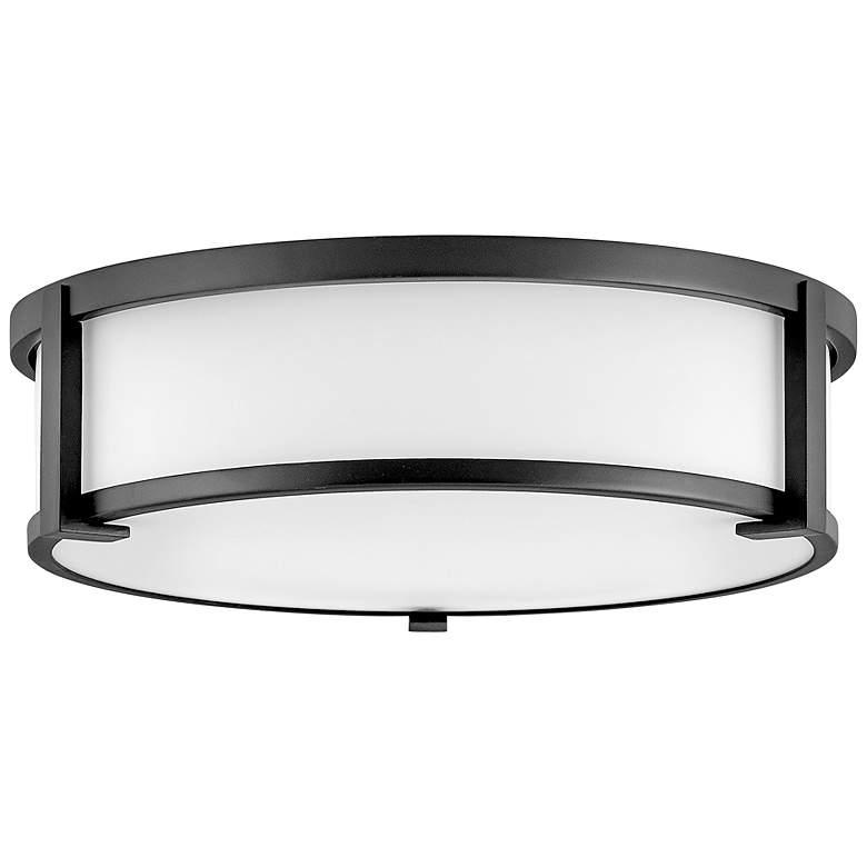 """Hinkley Lowell 16"""" Wide Black Drum Ceiling Light"""