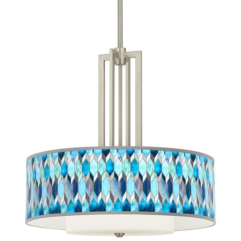 "Blue Tiffany-Style Carey 24"" Brushed Nickel 4-Light Chandelier"