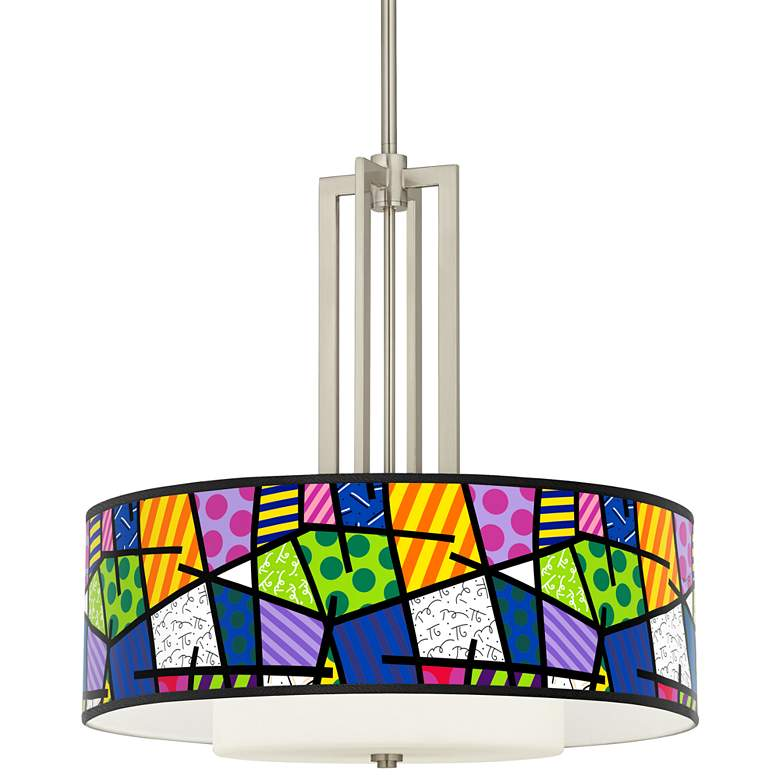 """Britto Abstract Carey 24"""" Brushed Nickel 4-Light Chandelier"""