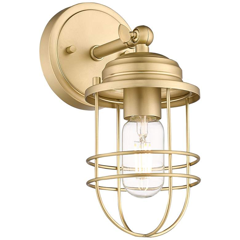 "Seaport 10 3/4"" High Brushed Champagne Bronze Wall Sconce"