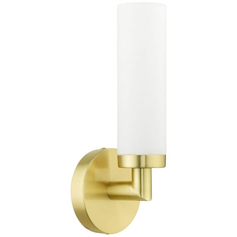 """Aero 11"""" High Satin Brass Metal and White Glass Wall Sconce"""