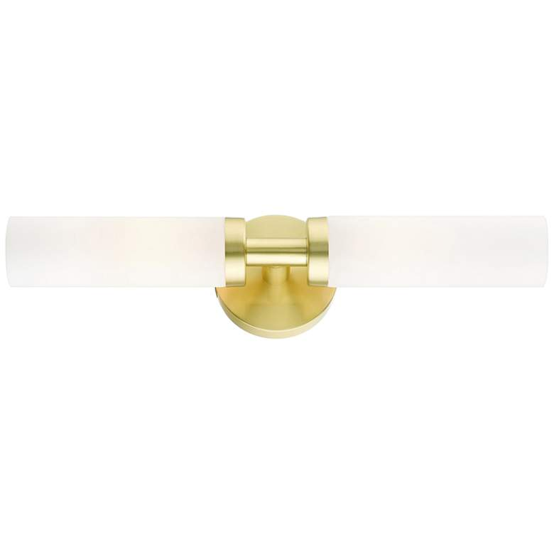 "Aero 18"" Wide Satin Brass and White Glass 2-Light Bath Light"
