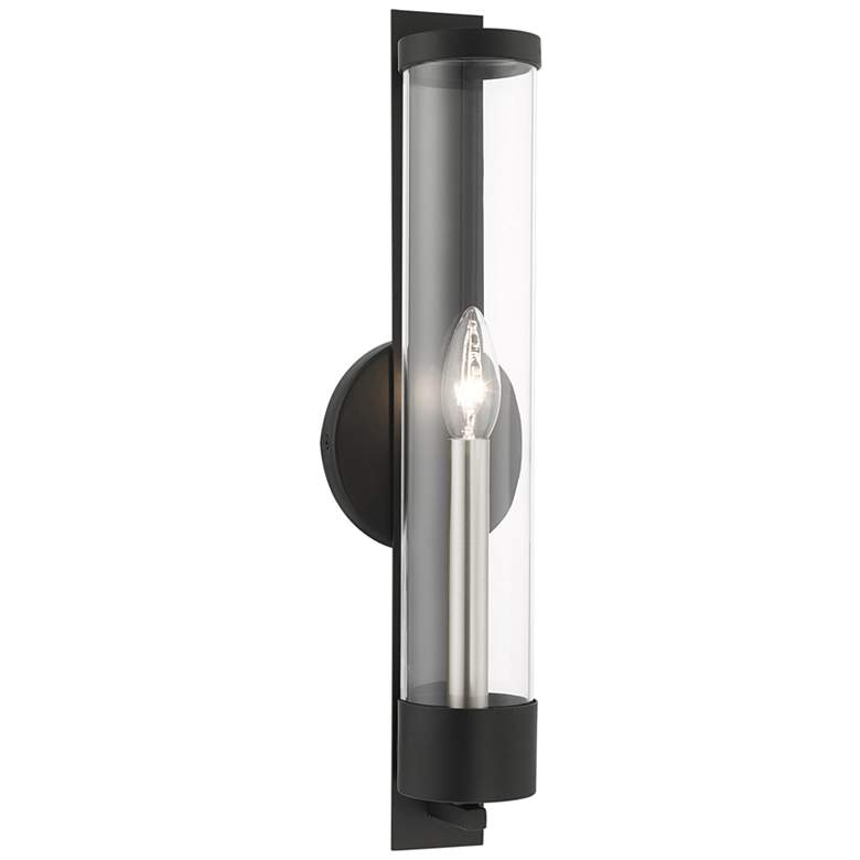 """Castleton 18"""" High Black and Cylinder Glass Wall Sconce"""