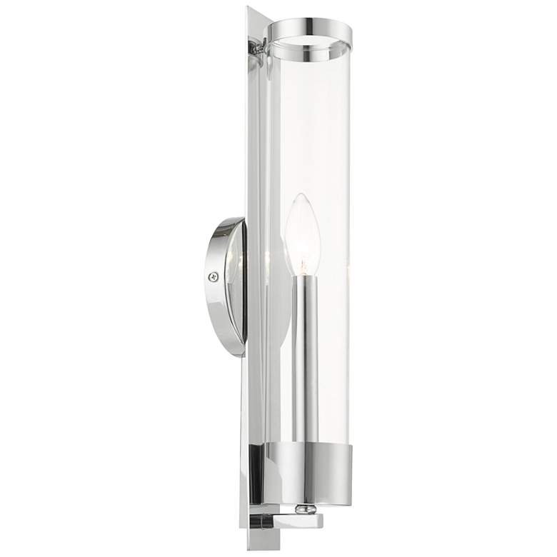 "Castleton 18""H Polished Chrome w/ Cylinder Glass Wall Sconce"