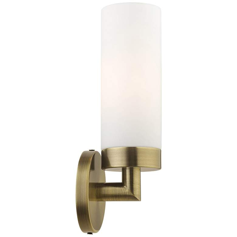 """Aero 11 3/4"""" High Antique Brass and White Glass Wall Sconce"""