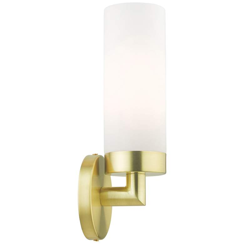 "Aero 11 3/4""H Satin Brass Metal and White Glass Wall Sconce"