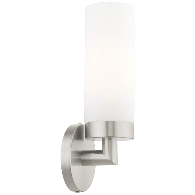 """Aero 11 3/4"""" High Brushed Nickel and White Glass Wall Sconce"""