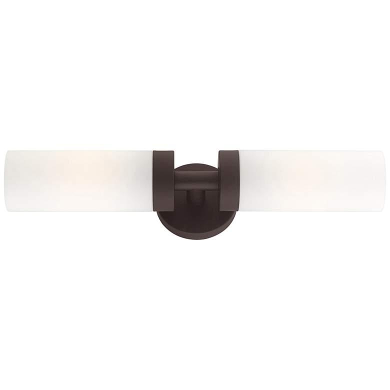 "Aero 19 1/4"" Wide Bronze and White Glass 2-Light Bath Light"