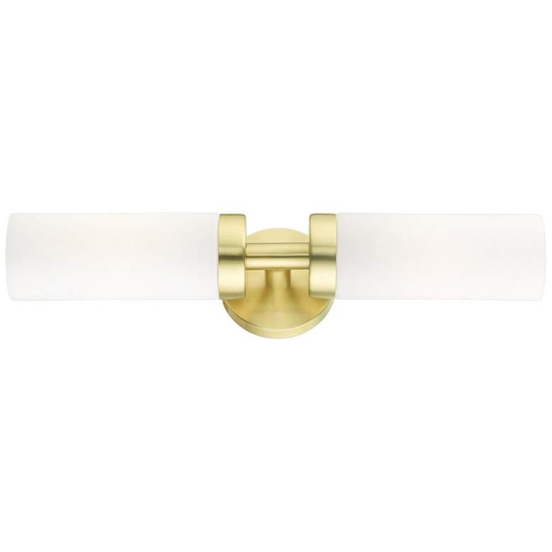 "Aero 19 1/4""W Satin Brass and White Glass 2-Light Bath Light"