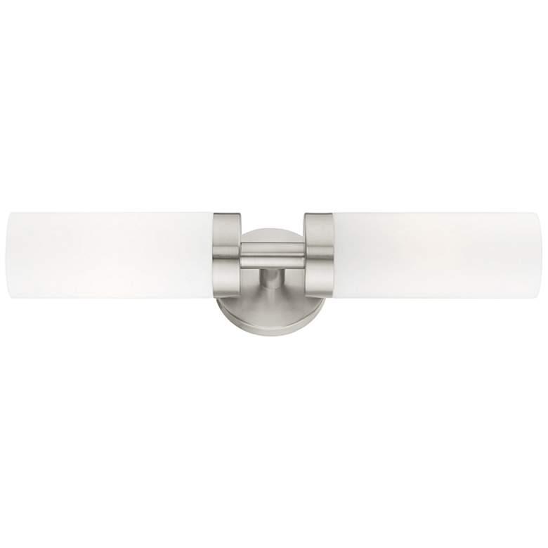 "Aero 19 1/4""W Brushed Nickel White Glass 2-Light Bath Light"