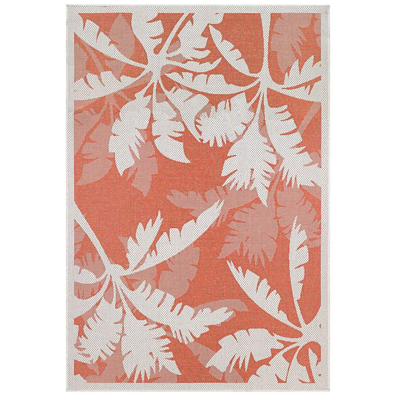 "Monaco Coastal Floral 2'x3'7"" Ivory and Orange Outdoor Rug"