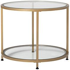 """Camber 26"""" Wide Glass and Gold Round End Table"""