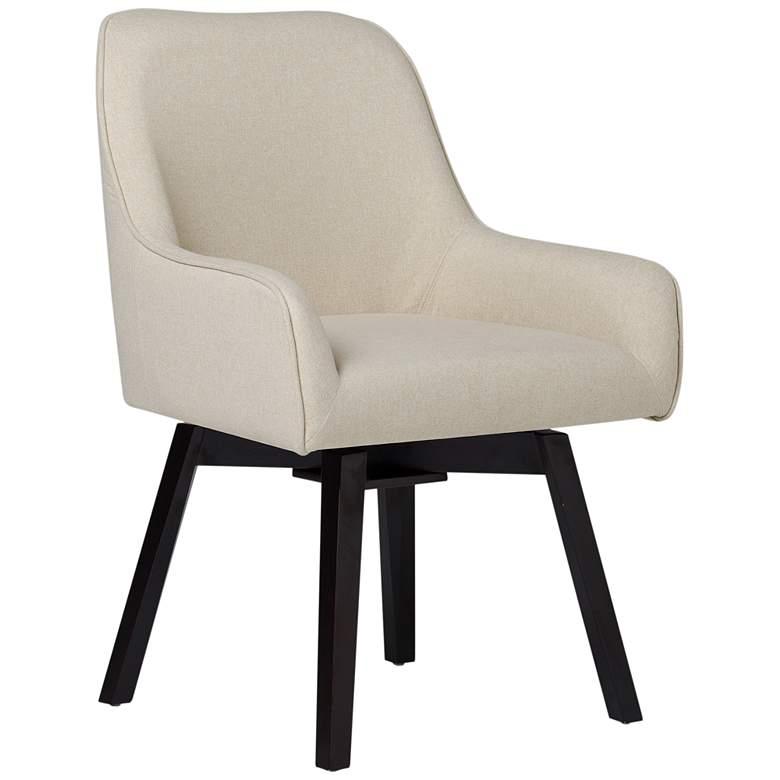 Spire Sand White Fabric Swivel Task Chair
