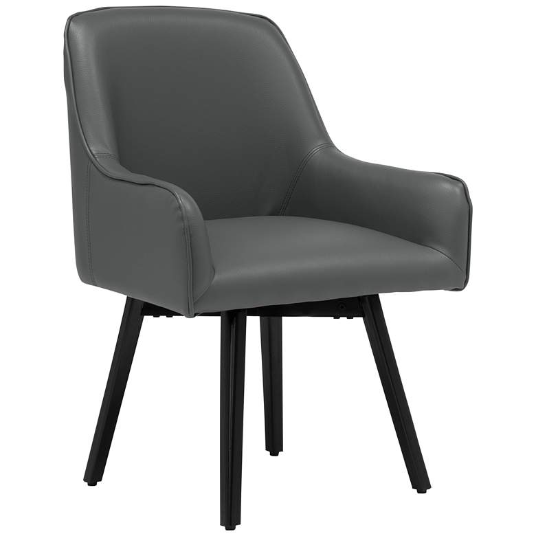 Spire Smoke Gray Bonded Leather Swivel Accent Chair