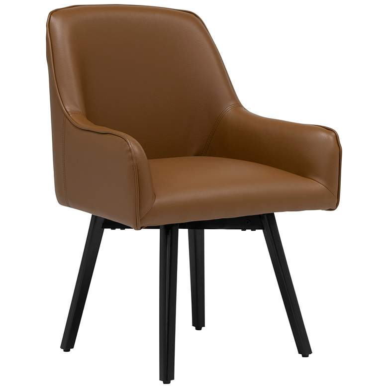 Spire Caramel Brown Bonded Leather Swivel Accent Chair