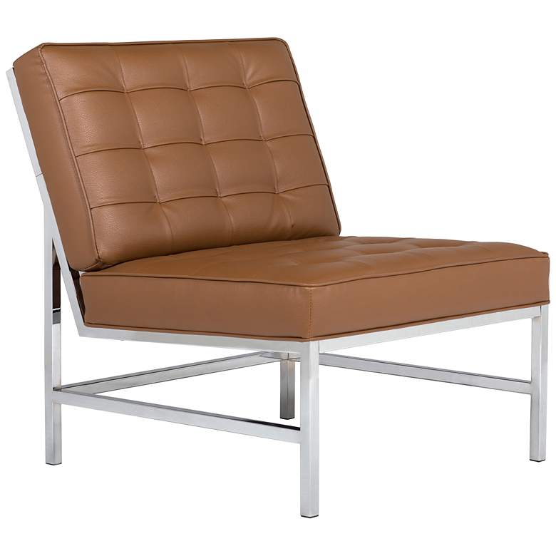 Ashlar Caramel Brown Bonded Leather Tufted Accent Chair
