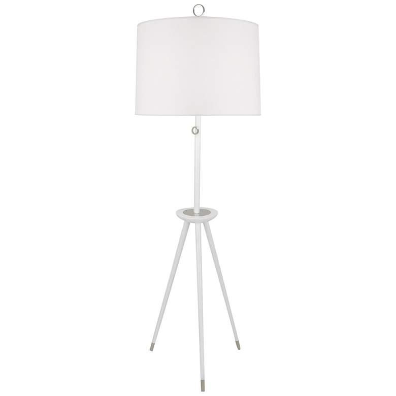 Jonathan Adler Ventana White Wood Tripod Floor Lamp