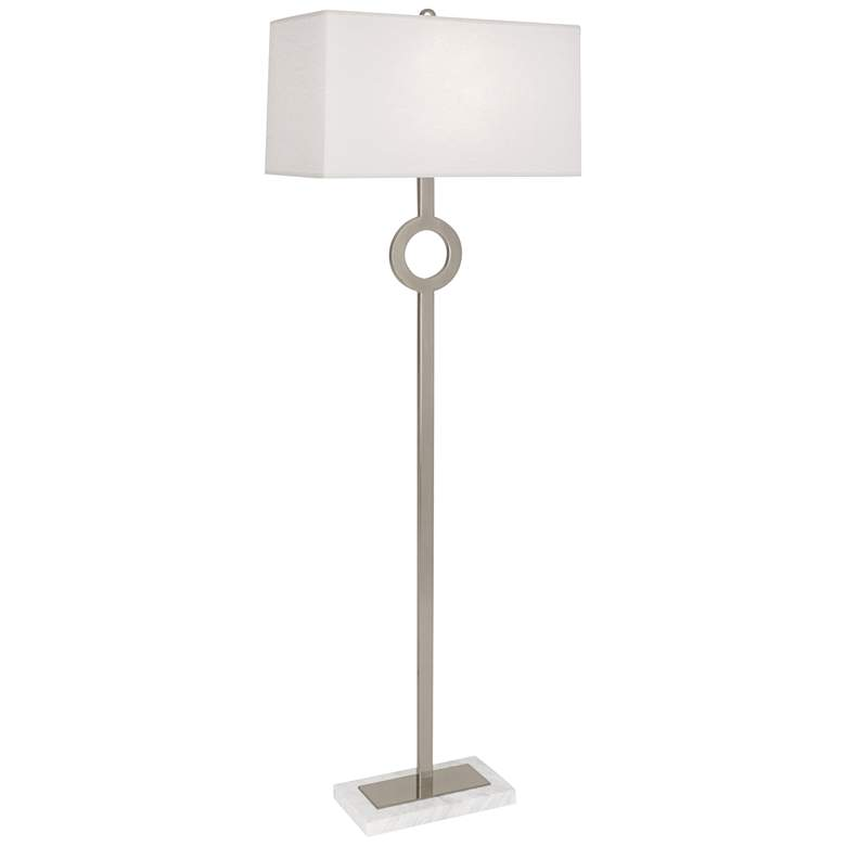 Robert Abbey Oculus Silver Floor Lamp with Oyster Shade