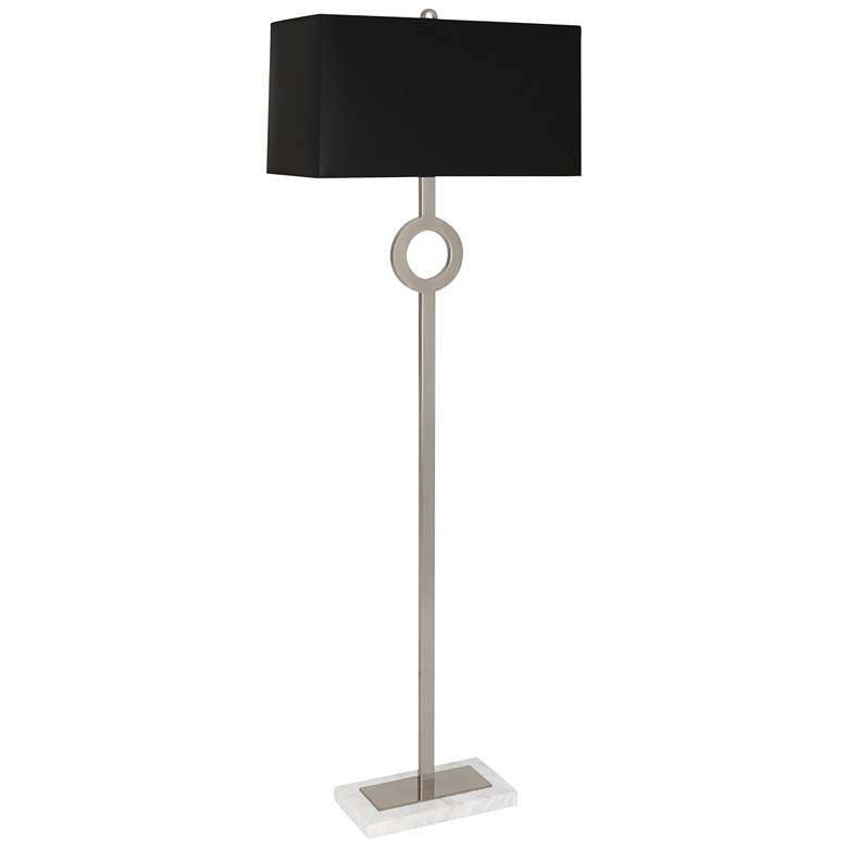 Robert Abbey Oculus Silver Metal Floor Lamp with Black Shade