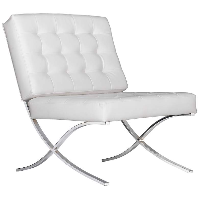 Atrium White Bonded Leather Tufted Accent Chair