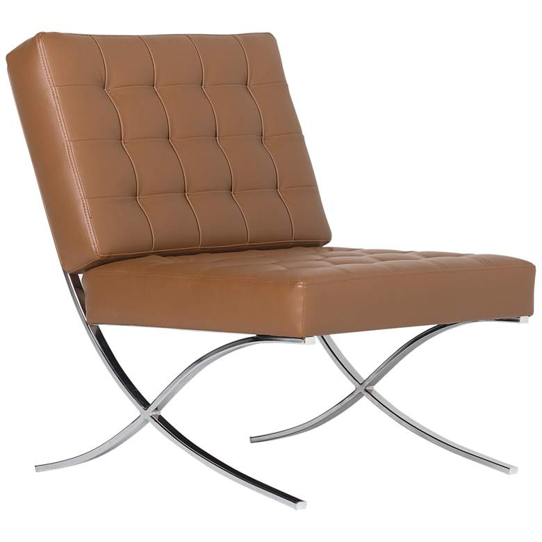 Atrium Caramel Brown Bonded Leather Tufted Accent Chair