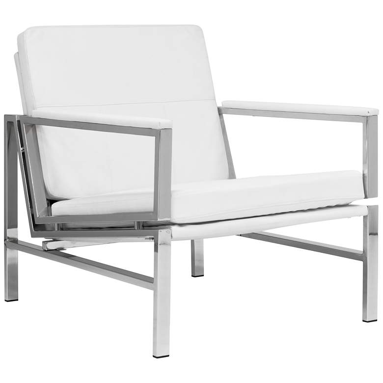 Atlas White Bonded Leather Accent Chair