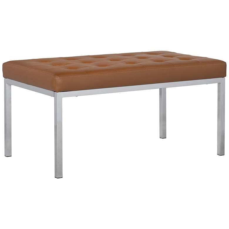 Lintel Caramel Light Brown Bonded Leather Tufted Bench