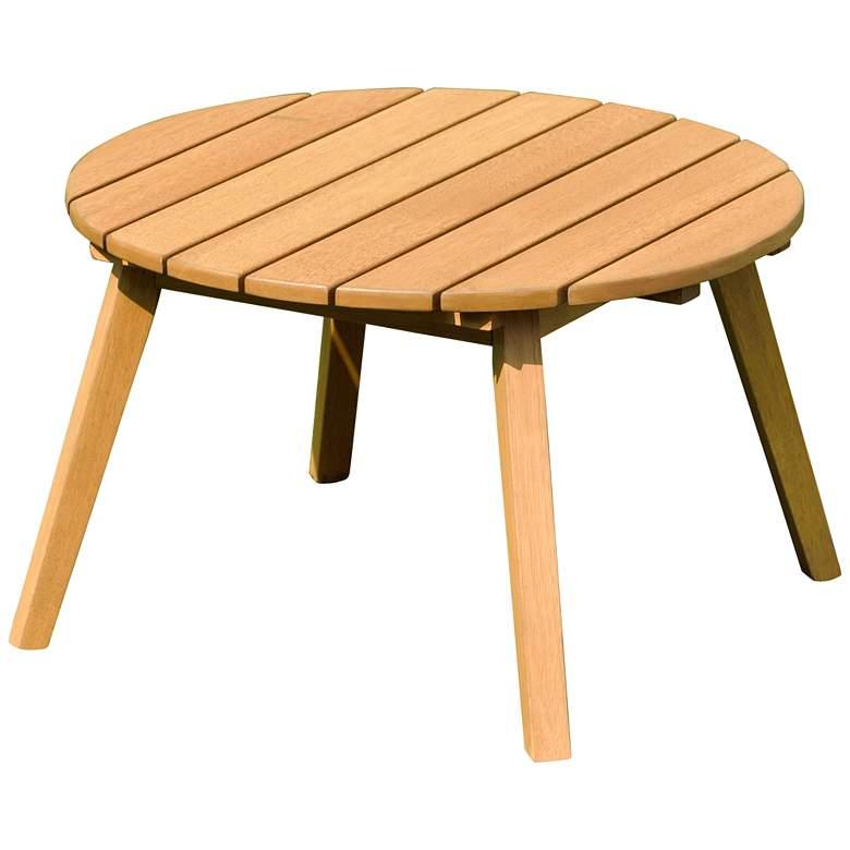 "Amazonia Chesnut 20"" Wide Eucalyptus Round Patio Side Table"