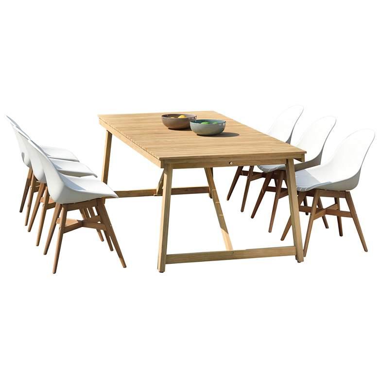 Amazonia Klaire 7-Piece Rectangular Teak and Eucalyptus Patio Dining Set