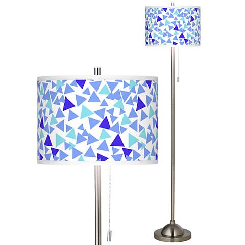 Geo Confetti Brushed Nickel Pull Chain Floor Lamp