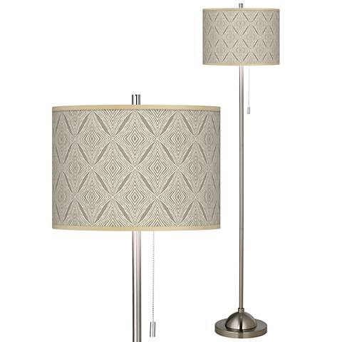 Moroccan Diamonds Brushed Nickel Pull Chain Floor Lamp