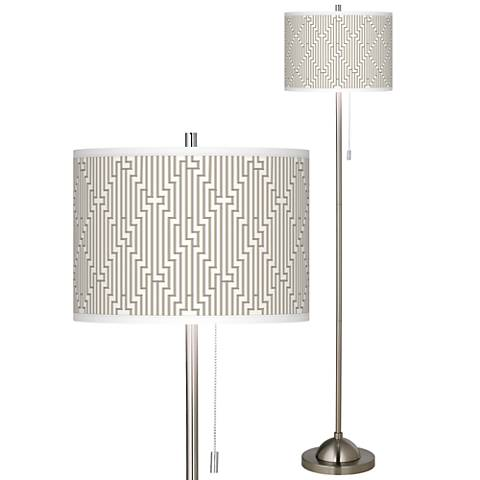 Diamond Maze Brushed Nickel Pull Chain Floor Lamp