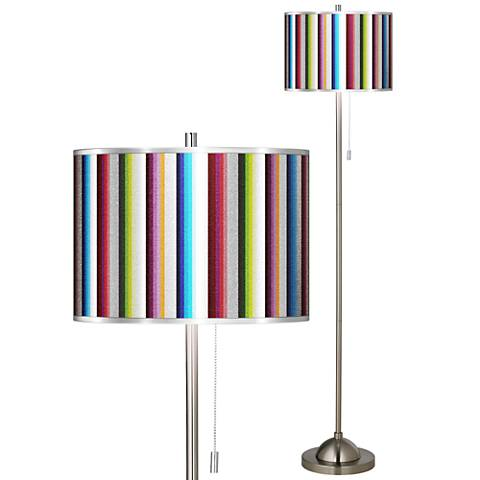 Technocolors Silver Metallic Brushed Nickel Pull Chain Floor Lamp
