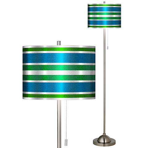 Multi Color Stripes Silver Metallic Brushed Nickel Floor Lamp