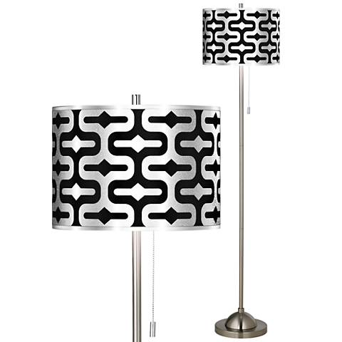 Reflection Silver Metallic Brushed Nickel Pull Chain Floor Lamp