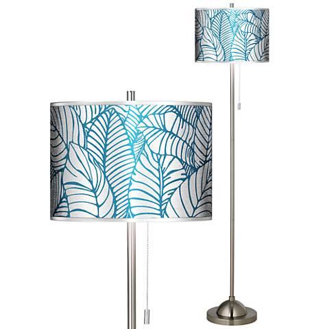 Tropical Leaves Silver Metallic Brushed Nickel Floor Lamp
