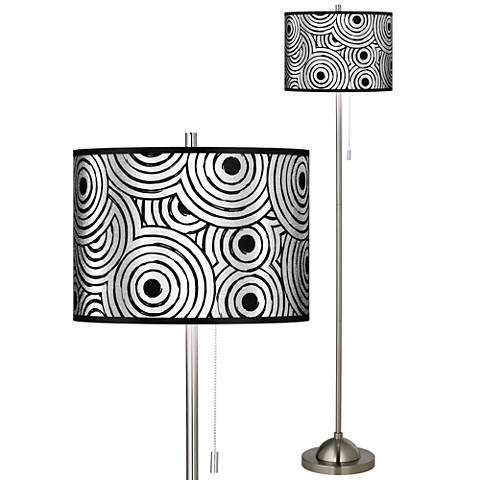 Circle Daze Silver Metallic Brushed Nickel Pull Chain Floor Lamp