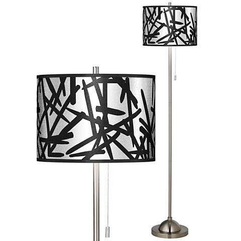 Sketchy Silver Metallic Brushed Nickel Pull Chain Floor Lamp