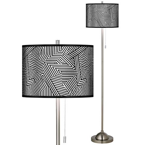 Labyrinth Silver Metallic Brushed Nickel Pull Chain Floor Lamp