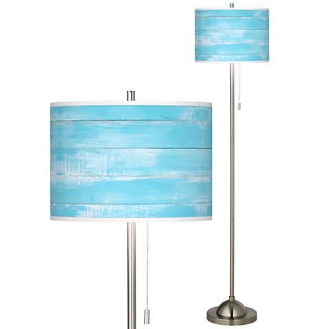Barnyard Blue Brushed Nickel Pull Chain Floor Lamp