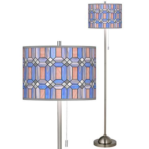 Asscher Tiffany-Style Brushed Nickel Pull Chain Floor Lamp