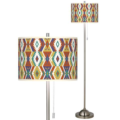 Southwest Bohemian Brushed Nickel Pull Chain Floor Lamp