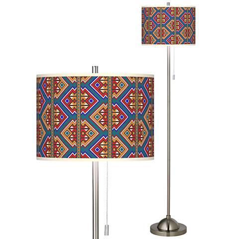 Rich Bohemian Brushed Nickel Pull Chain Floor Lamp